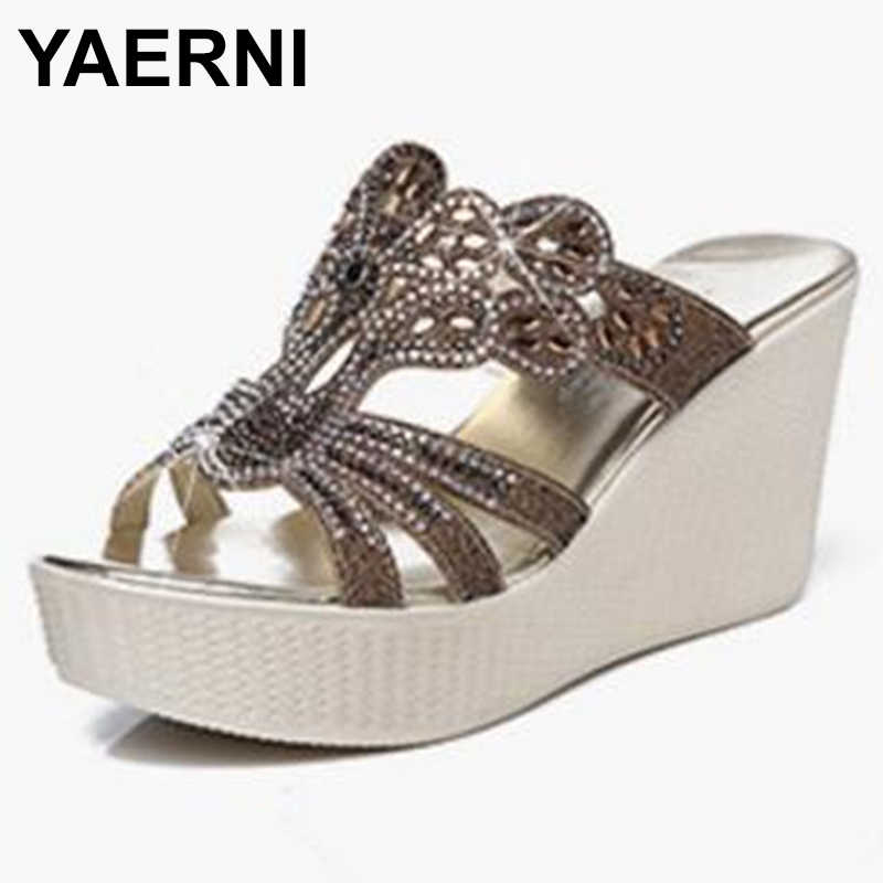YAERNINew Rhinestone Summer Elegant Fashion Sandals Women Slippers Genuine Leather Shoes Platform Wedges High Heeled SandalsE898