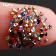 Hisenlee Color Czech Crystal Point Back Rhinestones Strass Chaton Stone SS3 1.3MM Cone Pointed Foiled Back DIY Faceted Decor(China)