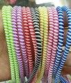 10 unids/lote 50 cm Colores Dobles de Color Sólido TPU espiral USB cable cable del Cargador protector wrap organizador de la devanadera del cable, anillo de pelo
