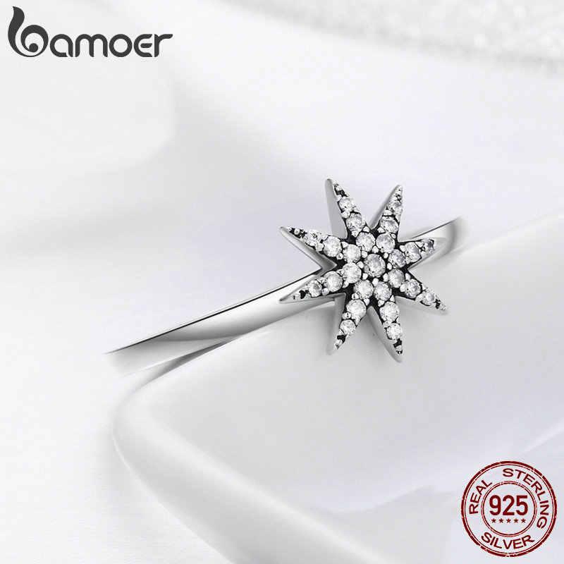 BAMOER 100% 925 เงินสเตอร์ลิงประกายดาวพราว CZ แหวนนิ้วมือสำหรับเครื่องประดับหมั้นผู้หญิง Anel SCR315