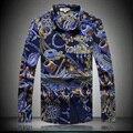 Estilo europeu e Americano moda personalidade impressão camisa boutique 2016 Outono & Inverno qualidade homens da camisa de algodão mercerizado