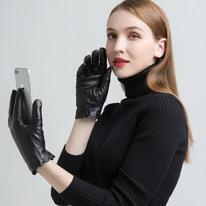 Image 3 - Gours Womens Genuine Leather Gloves Fashion Brand Black Sheepskin Touch Screen Finger Gloves Warm In Winter New Arrival GSL070