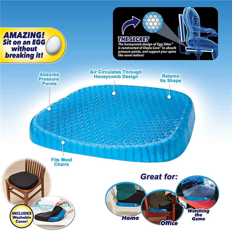 Silicon Gel Chair Cushion Cool Down Seat Cushions Breathable Honeycomb 3d Pillow Wheelchair Cushion Health Care Car Sofa Cushion