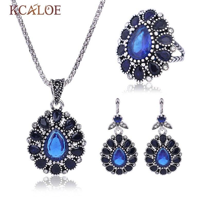 KCALOE Azul cristalino de Plata del Color Sistemas de la Joyería de Las Mujeres