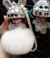 Oído largo monchhichi cristal monchichi muñecas real fur pom pom cadena dominante del coche llavero de Las Mujeres del bolso del encanto del bolso colgante de porte clef