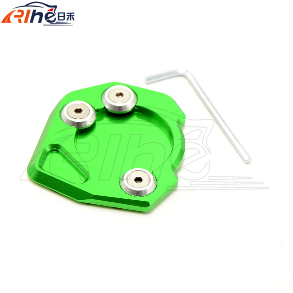 motorcycle cnc side stand enlarger green kickstand side stand extension enlarger pate pad For KTM DUKE 200 390 2013 2014 2015