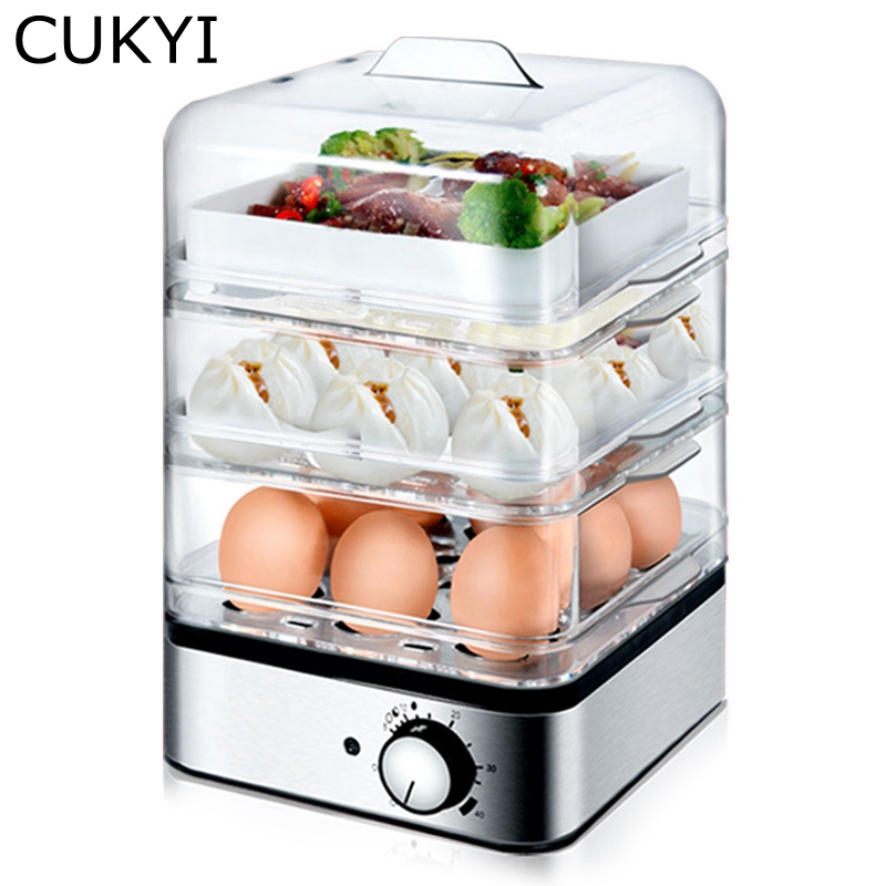 CUKYI 220V 360W Household Electric Multifunctional Egg Cooker for up to 8 Eggs Boiler Steamer Cooking Tools Kitchen Three layers