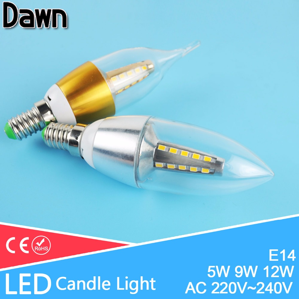 Led Candle Light Bulb E14 SMD2835 220V Energy Saving Lamp Velas Bombilla Ampoule Led Lamp 220V 5W 9W 12W E14 Lampada lampara candle led bulb e14 9w 12w aluminum shell e14 led light lamp 220v golden silver cool warm white ampoule lampara led smd 2835