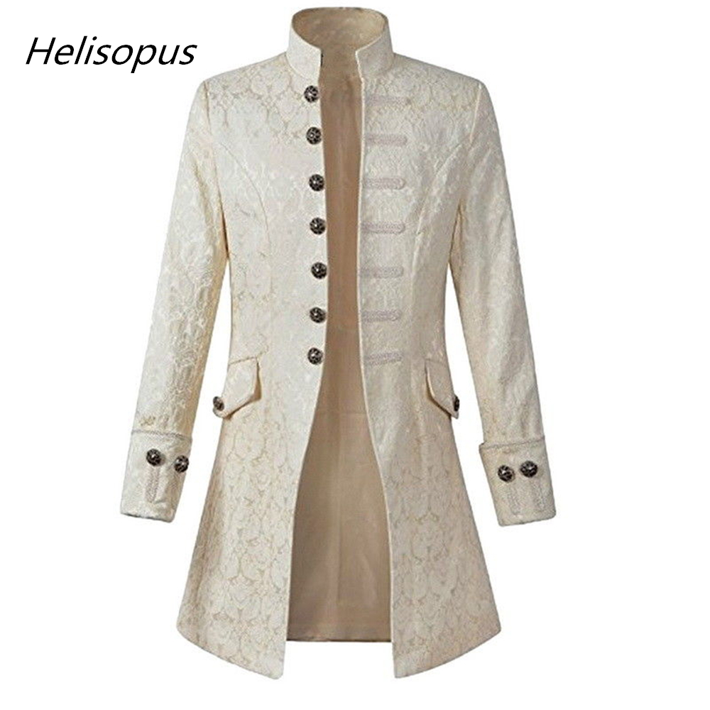 Helisopus Fashion Men Jacket Gothic Brocade Jacket Frock Coat Long Sleeve Stand Collar Open Stitch Jacket