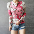 Spring Fall all-match women pink print knitted sweater cardigan female air conditioning short jacket sun protection shirt