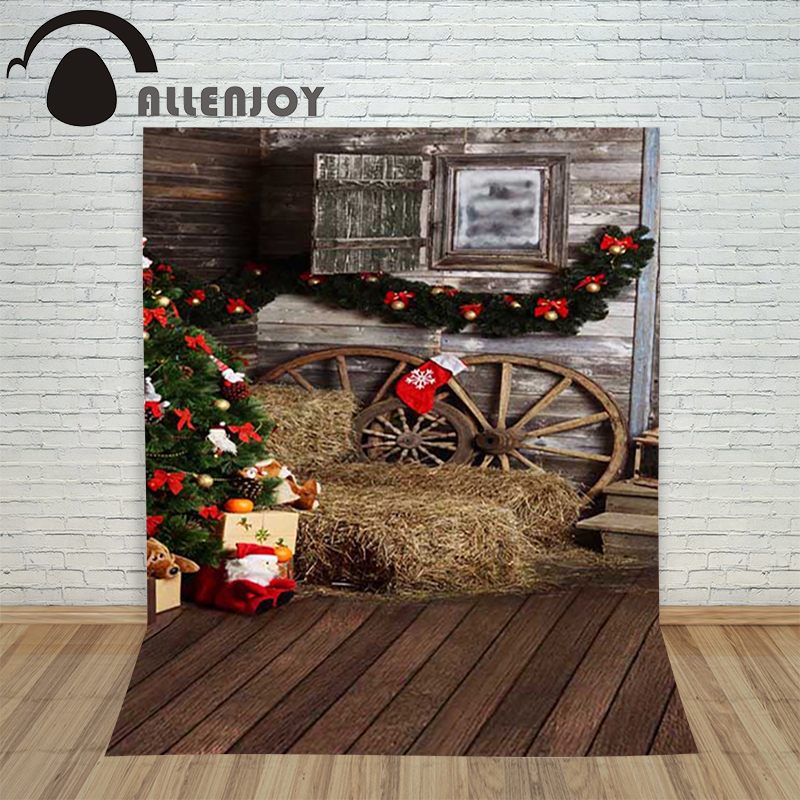 Allenjoy christmas tree photography backdrop Wood xmas tree wheel present children's camera photocall background photographic christmas background for photography wood flower green yellow rose colorful new born xmas customize photocall