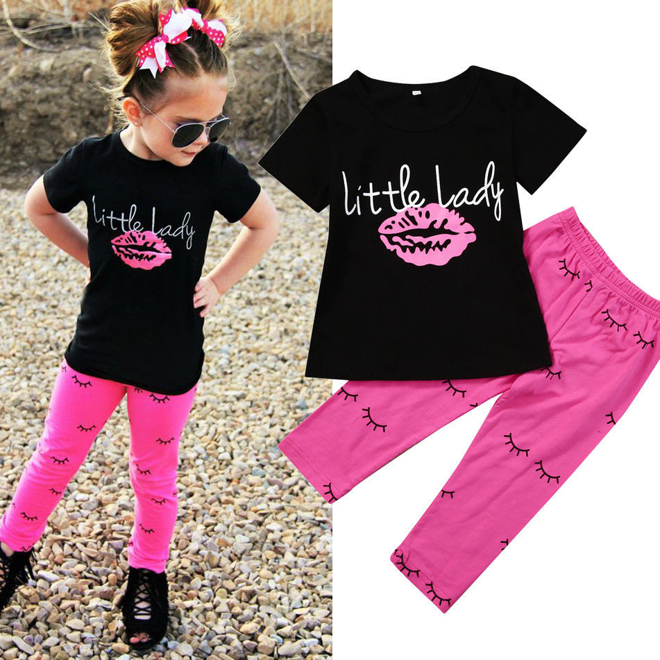 Sweet Girls Clothes Set Toddler Kids Short Sleeve Slip T-shirt Tops Pant Legging 2PCS Little Lady Outfit Children Clothing 1-6Y 2017 new fashion kids clothes off shoulder camo crop tops hole jean denim pant 2pcs outfit summer suit children clothing set