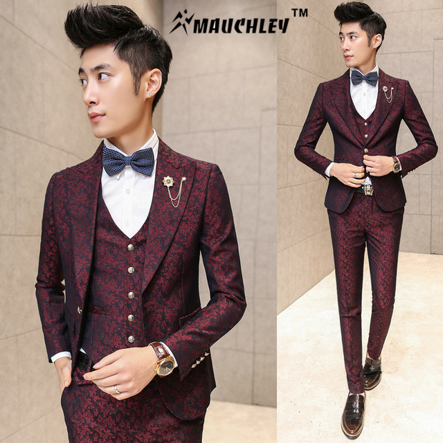 MAUCHLEY Prom Mens Suit With Pants Burgundy Floral Jacquard Wedding Suits for Men Slim Fit 3