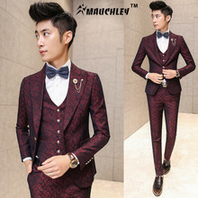 MAUCHLEY Prom Mens Suit With Pants Burgundy Floral Jacquard Wedding Suits for Men Slim Fit 3 Pieces / Set (Jacket+Vest+Pants)