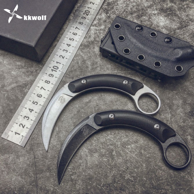 KKWOLF Outdoor Claw Knife Tactical Fixed Knife Battle Full Tang Camping Survival Defense Hunting <font><b>Karambit</b></font> EDC Tool <font><b>G10</b></font> Handle image