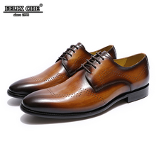 Men Dress Shoes Leather Lace Up Office Business Wedding Handmade Solid Formal Heels Pointed Toe Oxfords Mens Shoe - FELIX CHU цены онлайн