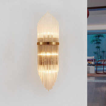 Creative Golden Luxury Indoor Living Room Crystal Wall Lamp Bedside Lamp Led Post Modern Classic Hotel Aisle Corridor Light - DISCOUNT ITEM  24% OFF All Category