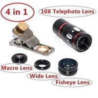2017 Phone Camera Lenses Kit 4in1 10X Zoom Telephoto Lens Telescope Macro Wide angle Fisheye Lentes Microscope For Xiaomi MI5 6