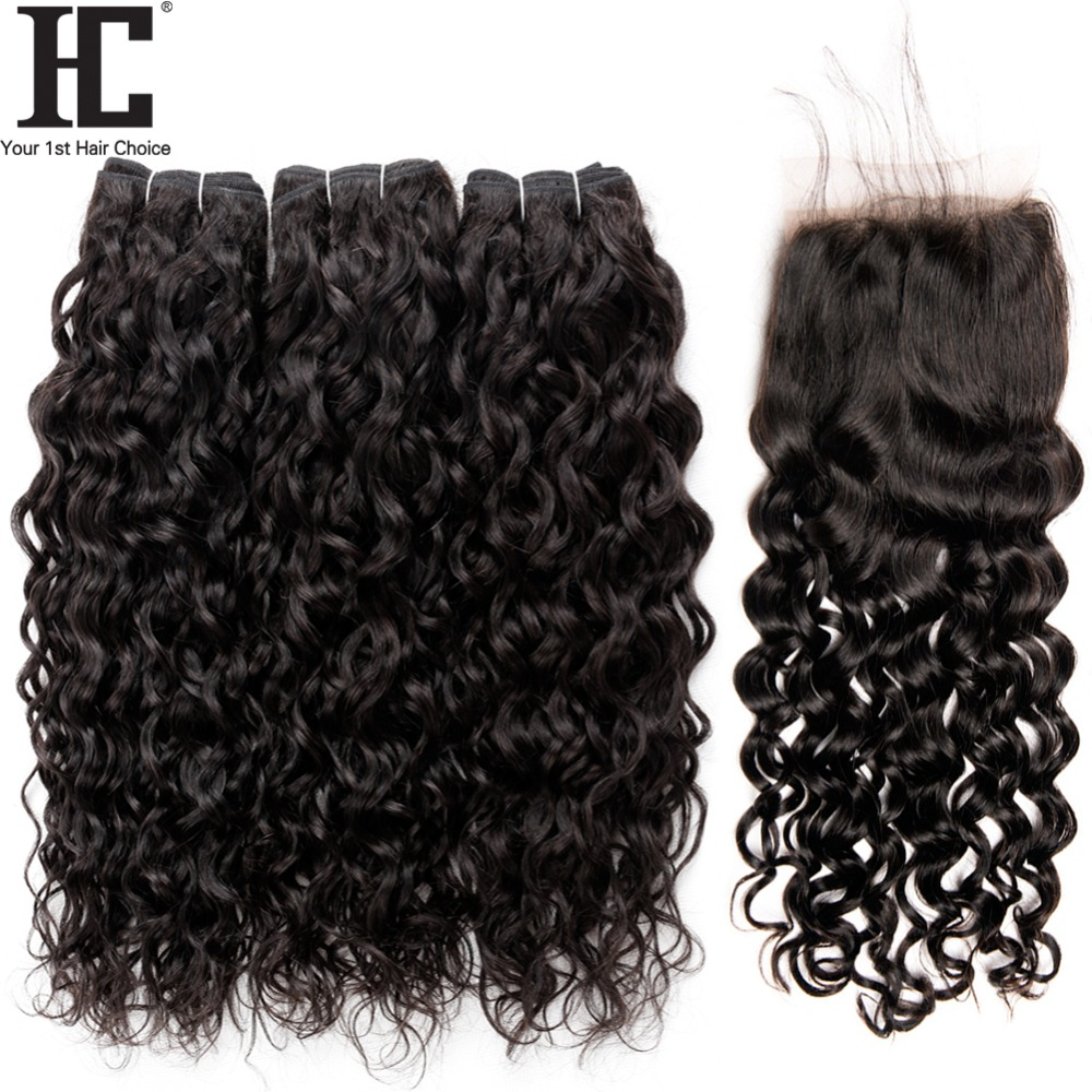 HC Water Wave Hair 3 Bundles With Closure Indian Wet And Wavy Human Hair Bundle With