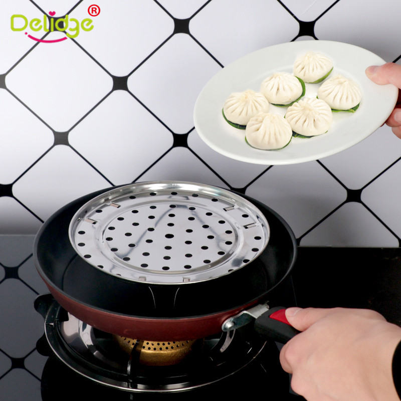 1 PC Stainless Steel Steamer Pot Shelf Tray Cookware  Durable Rice Metal Steamer Microwave Rack Steaming Stand Kitchen Accessory