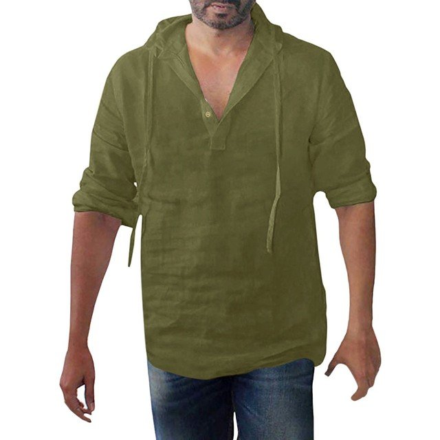 Brand Men's Shirt Summer Style Fashionable Pure Cotton Hemp Hooded Long Sleeve Blouse Top Men New Casual Shirt Camisas De Hombre