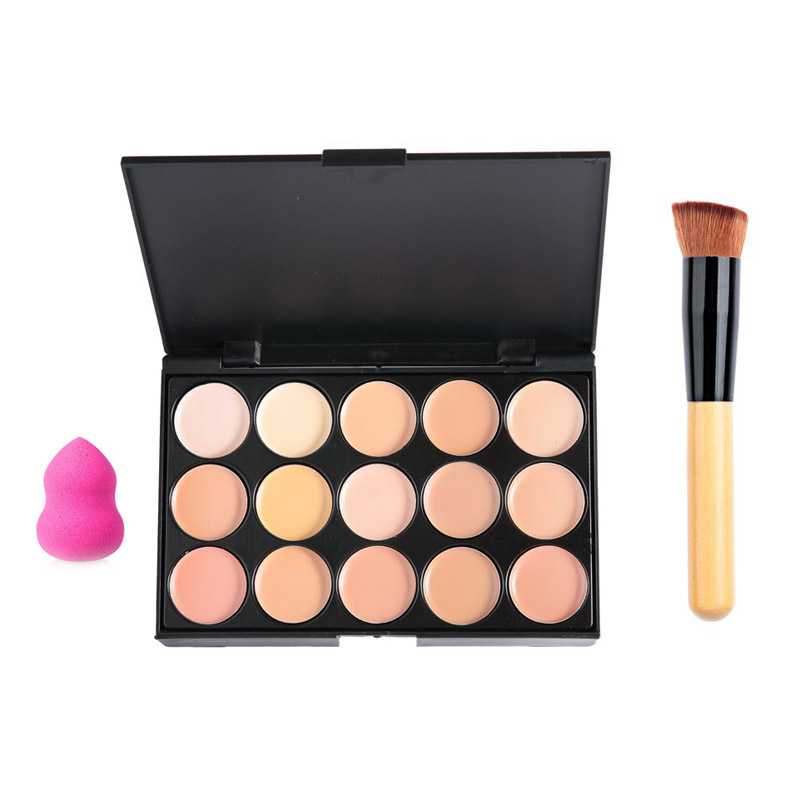 15 Color Concealer Makeup Palette +Wooden Handle Brush +Puff Face Foundation Bronzer Face Makeup Beauty Tool Best Gift For Women