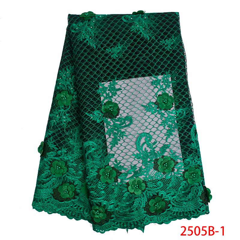 African Lace Fabric 2019 High Quality 3D Flower Lace Fabric Beautiful Applique Lace Embroidered Tulle With Beads KS2505B-1
