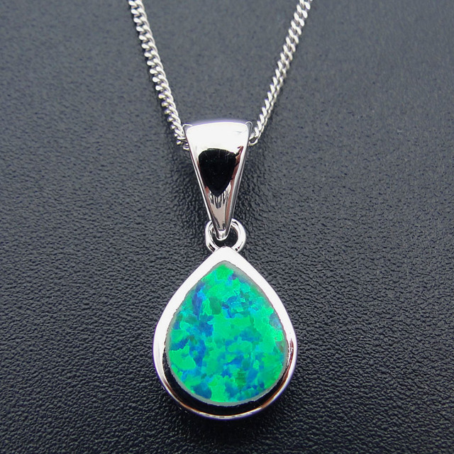 Fashion jewelry necklace white gold filled rhodium plating green fashion jewelry necklace white gold filled rhodium plating green fire opal pendant necklace with chain aloadofball Gallery