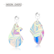 ФОТО moon over personality bright drop sequins earrings color fashion laser earring brinco jewelry for women accessories