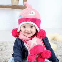 2016 New Baby Cap And Scarf A Set Winter Outdoor Warm For Children Beanies Hat Moon
