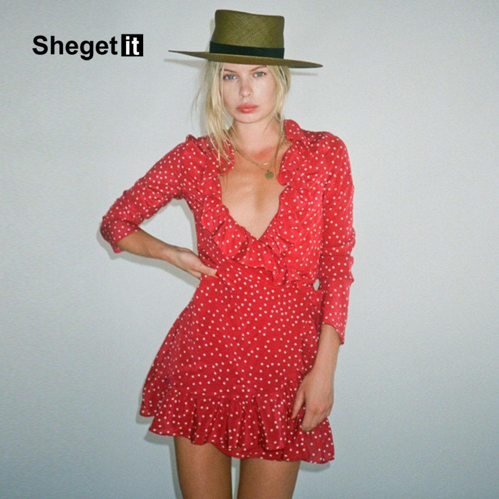 48644ea5552 Shegetit 2017 Summer New Arrived Star Print Mini Dress Women Ruffles ...