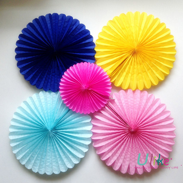 40pcs Lot 10 Inch Free Shipping Decorative Foldable Tissue Paper Fan