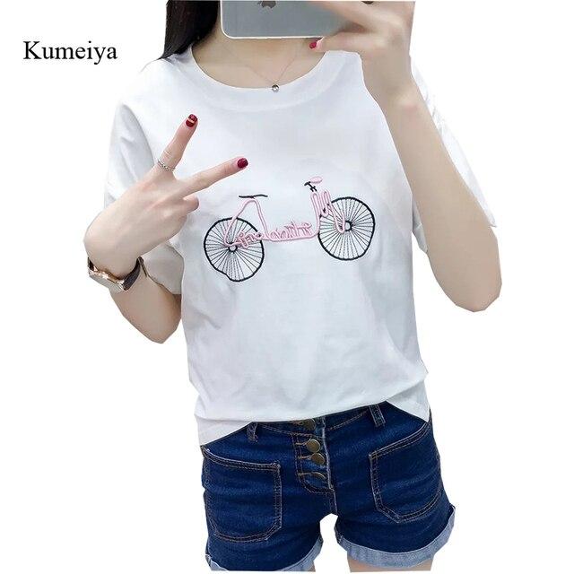 3290a5c2111e Embroidery White Women T Shirt Fashion Irregular Ladies Tops Tees Summer  Cotton T-shirt Casual Loose Short Sleeve T-shirts