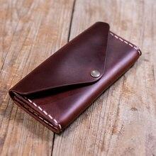 Original Design Handmade 100% frauen des Echten Leders Vintage Stil Lange brieftasche