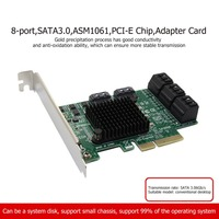 2019 8 Port High Speed 6Gbps SATA3.0 Expansion Card SA3008 ASM1061 PCI E Chip Adapter Card
