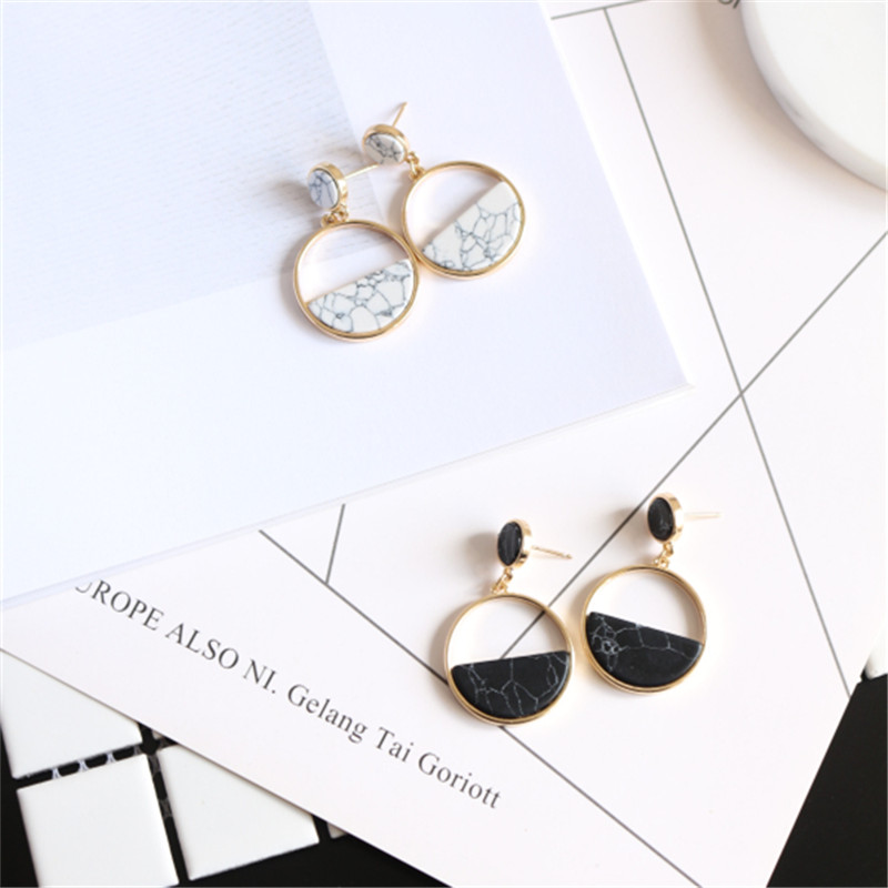 Handmade fashion simple geometric circular marble long earrings girls popular earrings earrings temperament EE88 2
