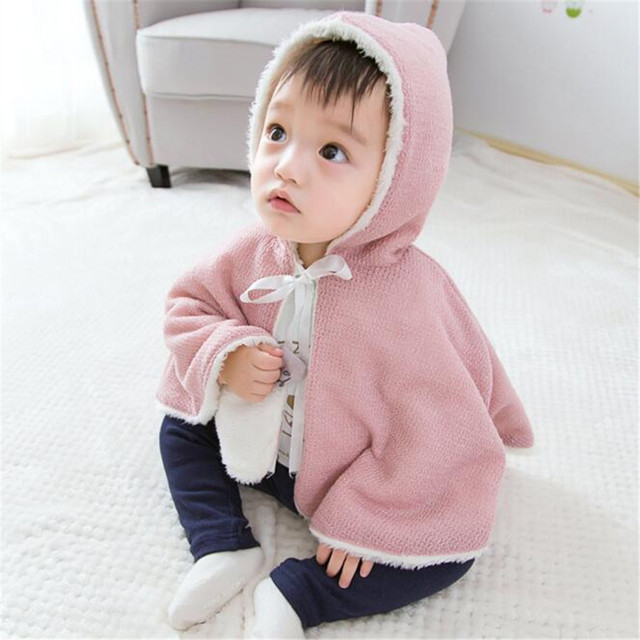 Fast High Quality Baby Clothing 2016 Korean Cute Hooded Fleece All-match Cape Coat Outwear Baby Girls Clothes Autumn&Spring