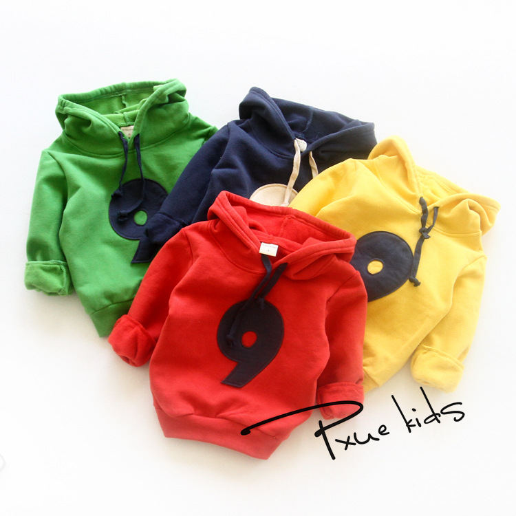 For 2-7 Yrs baby boys girls jacket Outerwear and Coat for children Plus velvet hooded Autumn Winter warmth Kids Boys Sweatshirts