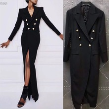 9110e23a74cd Plus Size XL Empire Dress Elegant Office Ladies Long Blazer Dress Sexy High  Split Gold Buttons Black Sheath Dress Women