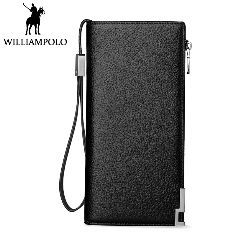 WILLIAMPOLO Genuine Leather Card Holder Wallet Men Clutch Wallet Hand Strap Long Purse 24 Card Pocket Elegant Businessman Style