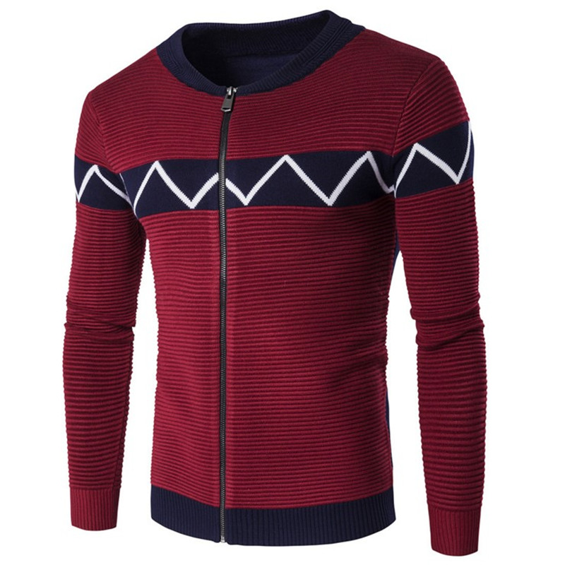 2017 new winter mens jacket, brand design high quality mens sweater, cardigan sweater and thick warm wine red and navy m-2xl