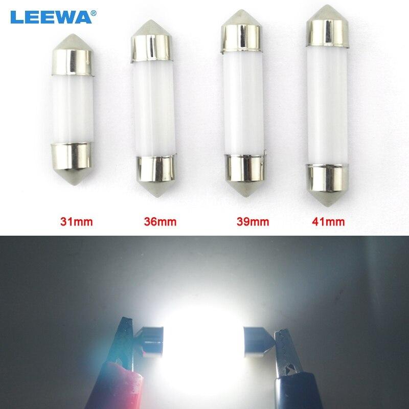 2Pcs White Festoon 36MM Ceramic COB 3W LED Interior Door Map Dome Light Bulbs