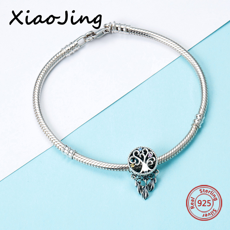 Fit authentic pandora charms bracelet 925 sterling silver Dreamcatcher beads with blue CZ fashion jewelry Making for gifts in Beads from Jewelry Accessories