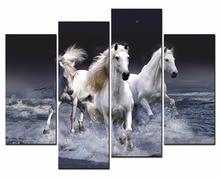 Framed 4 Panels/Set Animal series the horse HDCanvas Print Painting Artwork Gift Wall Art P painting/XJ-12Y-112