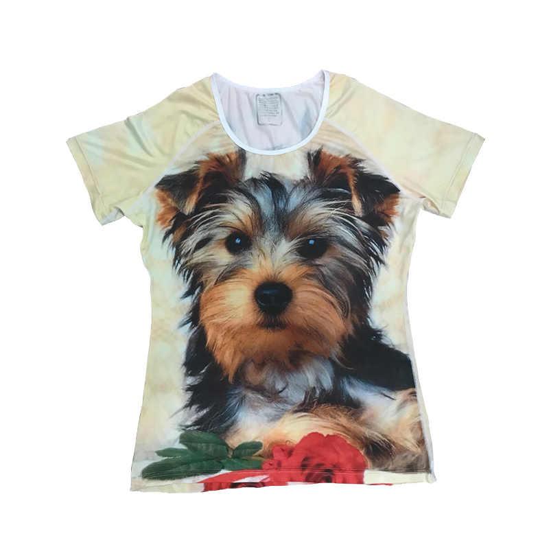 Бесшумный дизайн немецкая короткошерстная указка футболка летние топы футболки для женщин женская футболка с коротким рукавом Новинка 3D цветок футболка