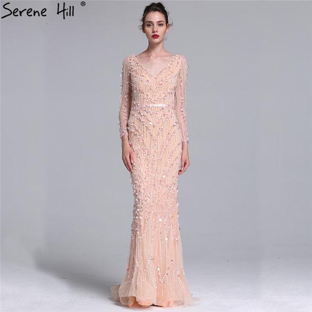 Online Shop Luxury Pink Navy Blue Beading Mermaid Tulle Evening ...