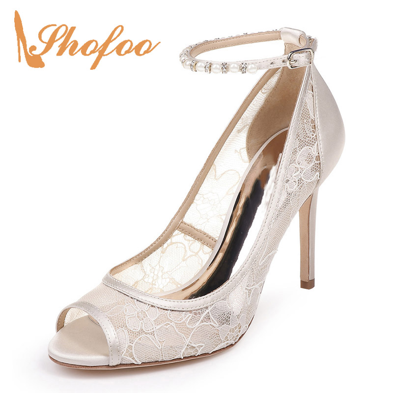 Crystal White Lace Ankle Strap High Stilettos Pumps Woman Peep Toe Thin Heels Large Size 11 15 For Ladies Wedding Shoes FashionCrystal White Lace Ankle Strap High Stilettos Pumps Woman Peep Toe Thin Heels Large Size 11 15 For Ladies Wedding Shoes Fashion