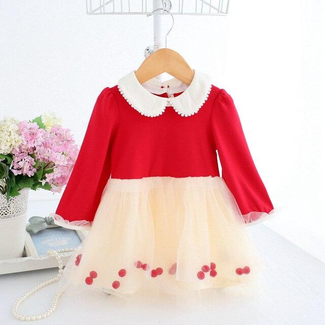 Otoño bebé recién nacido Ropa Para niña ropa princesa party Navidad vestidos  Tutu vestido rosa rojo ed0d8f494580