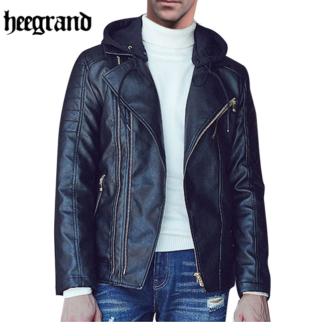 HEE GRAND Hot Sale Men Leather Jacket Fashion Plus Size Motocross PU Slim Male Coats And Jackets Man Fashion Coat MWP394