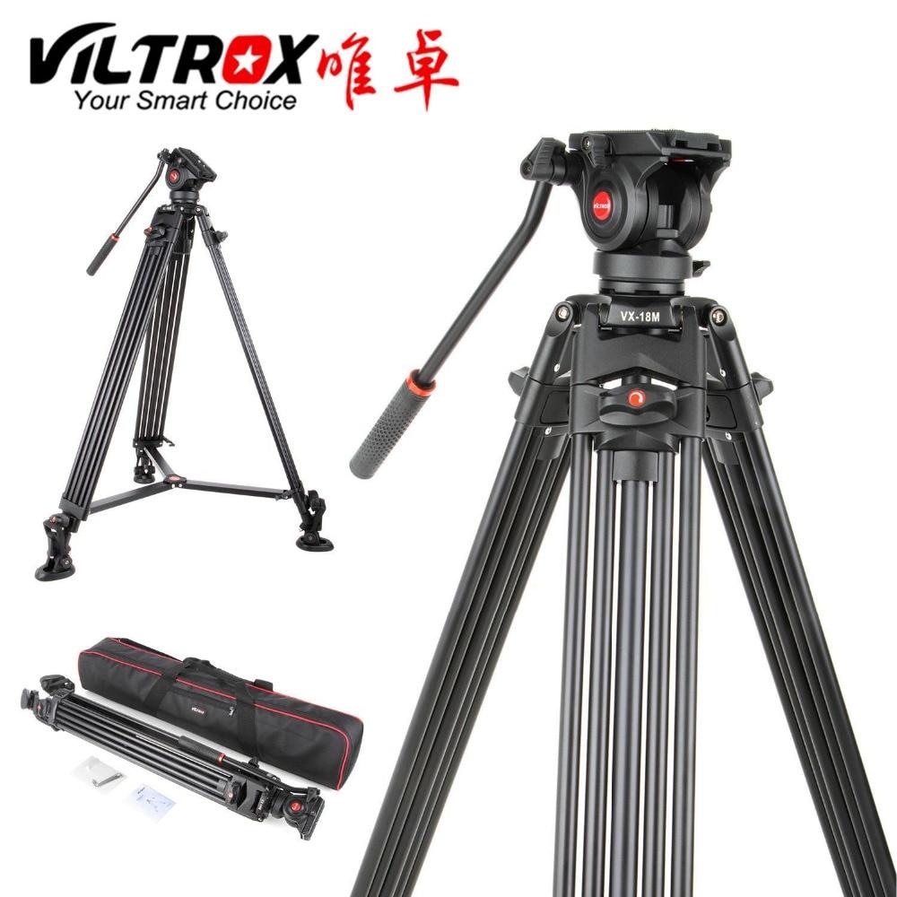 Viltrox VX-18M 1.8 m Professionnel Robuste Stable antidérapante En Aluminium Trépied Vidéo + Fluide Tête Cylindrique + Transporter sac pour Caméra DV